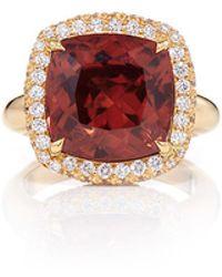 Pamela Huizenga | Peach Zircon Ring Set In Diamond Nest | Lyst