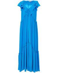 Three Graces London - Wilhelmina Ruffled Silk Crepe De Chine Maxi Dress - Lyst