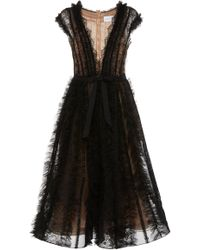 Marchesa - A-line Tulle Midi Dress - Lyst