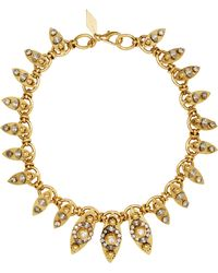 Nicole Romano - 18k Gold-plated Crystal-embellished Marquis Necklace - Lyst