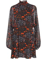 Giamba - Sheer Sleeve Floral Mockneck Dress - Lyst
