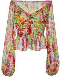 Caroline Constas - Onira Off-the-shoulder Floral-print Stretch-silk Blouse - Lyst