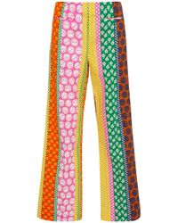 ALEXACHUNG - Cropped Printed Cotton-jersey Pants - Lyst