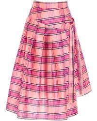Christian Siriano - Pink Plaid Pleated Skirt - Lyst
