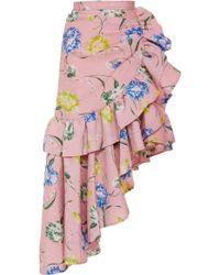Rodarte - Floral-print Asymmetric Cloqué Skirt - Lyst