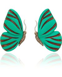 Silvia Furmanovich - Sculptural Botanical Marquetry Butterfly Earrings - Lyst