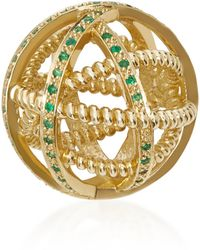 Nancy Newberg - Small Gold And Gemfields Emerald Ball Cage Pendant - Lyst