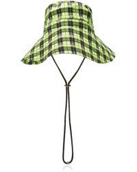Ganni - Plaid Seersucker Bucket Hat - Lyst