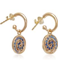 She Bee - 14k Gold Sapphire Spiral Hoop Earrings - Lyst