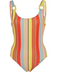 Solid & Striped - Stella Buckle Striped One-piece Swimsuit - Lyst