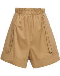 Alberta Ferretti - Gathered Cotton Shorts - Lyst