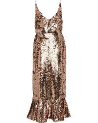 Saloni - Aidan-d Sequin Ruffle Dress - Lyst