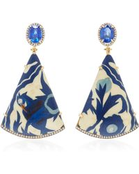 Silvia Furmanovich - Marquetry Blue Bird Wood, Diamond, And Kyanite Earring - Lyst