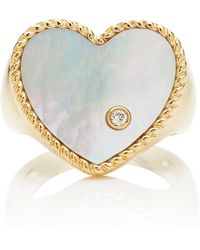 Yvonne Léon - 9k Gold, Diamond And Mother Of Pearl Signet Ring - Lyst
