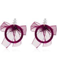 Fallon - Crystal, Silk And Silver-plated Hoop Earrings - Lyst