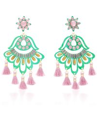 Mercedes Salazar - Fiesta Green And Purple Drop Tassel Earrings - Lyst