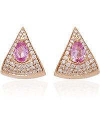 Hueb | Spectrum 18k Rose Gold Diamond And Pink Sapphire Earrings | Lyst