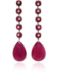 Nina Runsdorf - M'o Exclusive: One-of-a-kind Ruby Bead And Cabochon Drop Earrings - Lyst