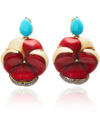 Silvia Furmanovich - Sculptural Botanical Marquetry Flower Turquoise Earrings - Lyst