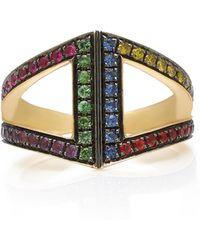 Noor Fares - 18k Gold Rainbow Rhombus Ring - Lyst