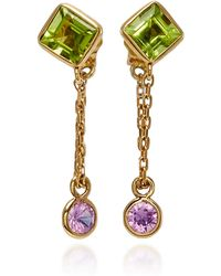 Yi Collection - Peridot And Pink Sapphire Chain Earrings - Lyst