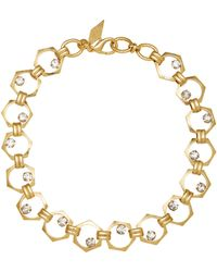 Nicole Romano - 18k Gold-plated Bolt Crystal Necklace - Lyst