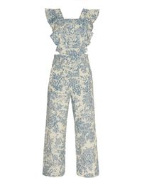 Alix Of Bohemia Olive Ruffled Toile Overall - Blue
