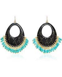 Ashley Pittman | Vuka Horn, Bronze And Turquoise Earrings | Lyst