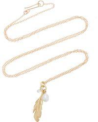 Annette Ferdinandsen - Feather 18k Gold And Diamond Pendant Necklace - Lyst