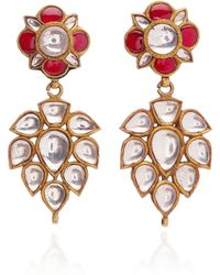 Amrapali - 24k Sterling Silver, 18k Gold, Crystal And Ruby Earrings - Lyst