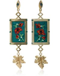 Lulu Frost - Villa Hand-embroidered Gold-plated Brass Drop Earrings - Lyst