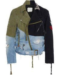 Greg Lauren - Brando Patchwork-effect, Denim, Wool-felt And Twill Motorcycle Jacket - Lyst