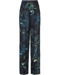 Agnona - Shadow Botanical Printed Silk Twill New Pinces Pant - Lyst