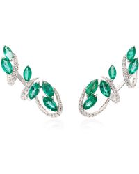 Hueb - M'o Exclusive 18k White Gold, Emerald And Diamond Earrings - Lyst