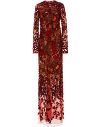 J. Mendel - Embroidered Silk Maxi Dress - Lyst