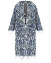 Ksenia Schnaider - Long Denim Fur Coat - Lyst