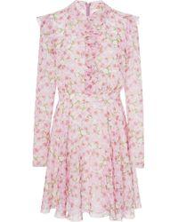Giambattista Valli - Floral-print Silk-chiffon Mini Dress - Lyst