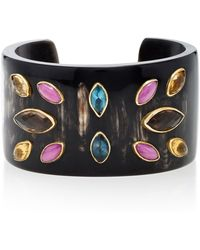 Ashley Pittman - Ufalme Dark Horn And Multi-stone Cuff - Lyst