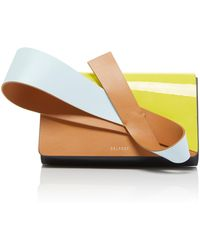 Delpozo - Orchid Paneled Patent And Smooth Leather Clutch - Lyst