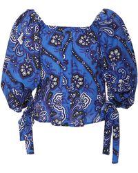 Caroline Constas - Nella Off-the-shoulder Floral-print Cotton-poplin Top - Lyst