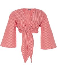 MDS Stripes - Exclusive Everything Tie-front Cotton Top - Lyst