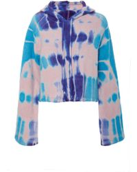 The Elder Statesman - M'o Exclusive Cropped Tie-dye Cashmere Hooded Sweatshirt - Lyst
