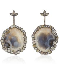 Kimberly Mcdonald - 18k Gold, Geode And Diamond Earrings - Lyst