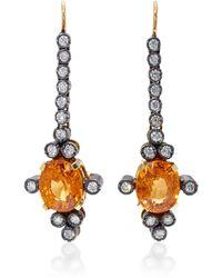 Montse Esteve | 18k Gold, Fire Opal And Diamond Earrings | Lyst
