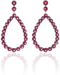 Nina Runsdorf - M'o Exclusive Ruby And Diamond Frontal Hoop Earring - Lyst