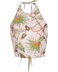 Adriana Iglesias - Scala Open Back Printed Silk-blend Top - Lyst
