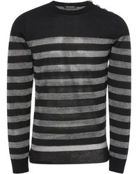 Balmain - Striped Wool-blend Jumper - Lyst