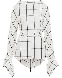 Maticevski - Courageous Checked Bell Sleeve Blouse - Lyst