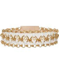 Balmain - High Waist Pearl And Brass Chain Belt - Lyst