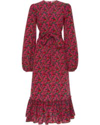 The Vampire's Wife - Belle Printed Crepe Midi Dress - Lyst